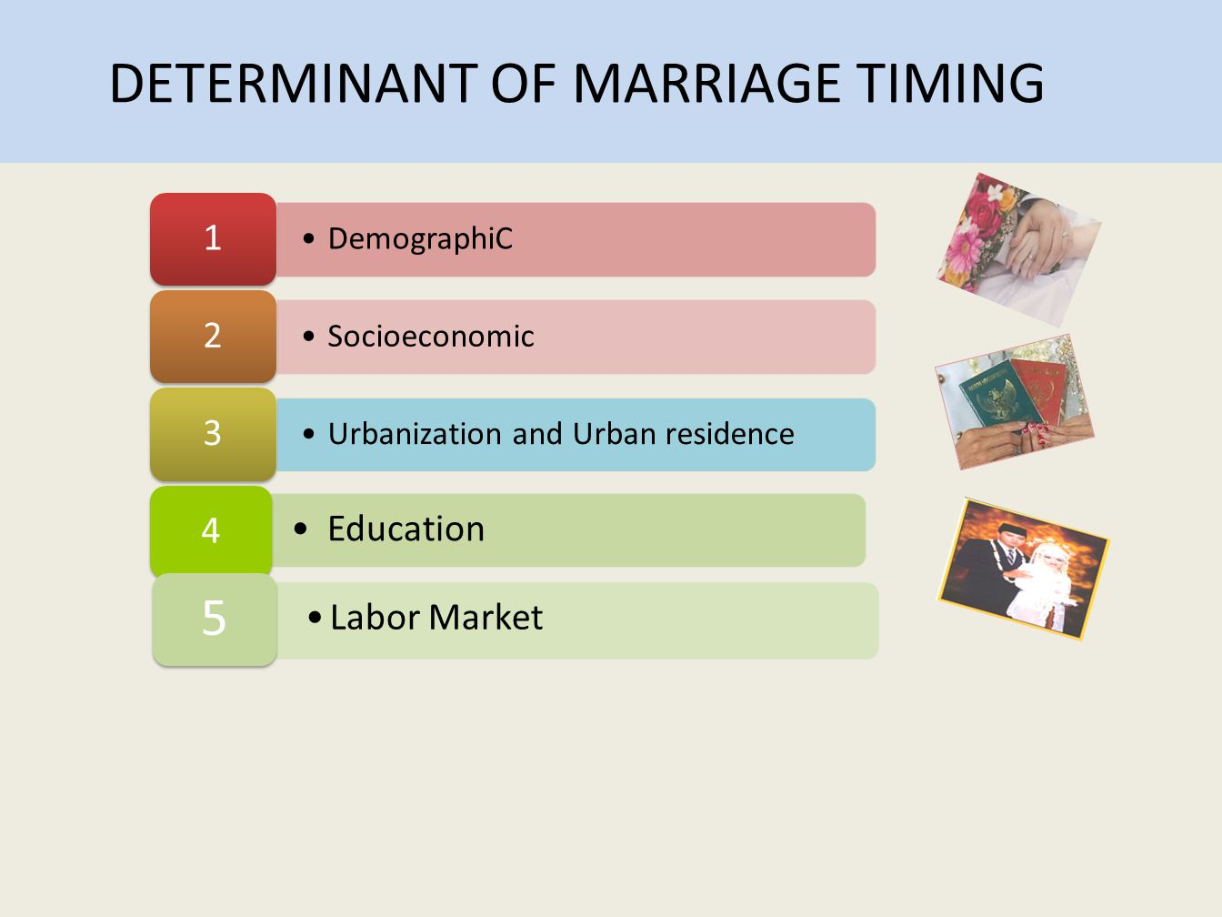 DETERMINANT OF MARRIAGE TIMING