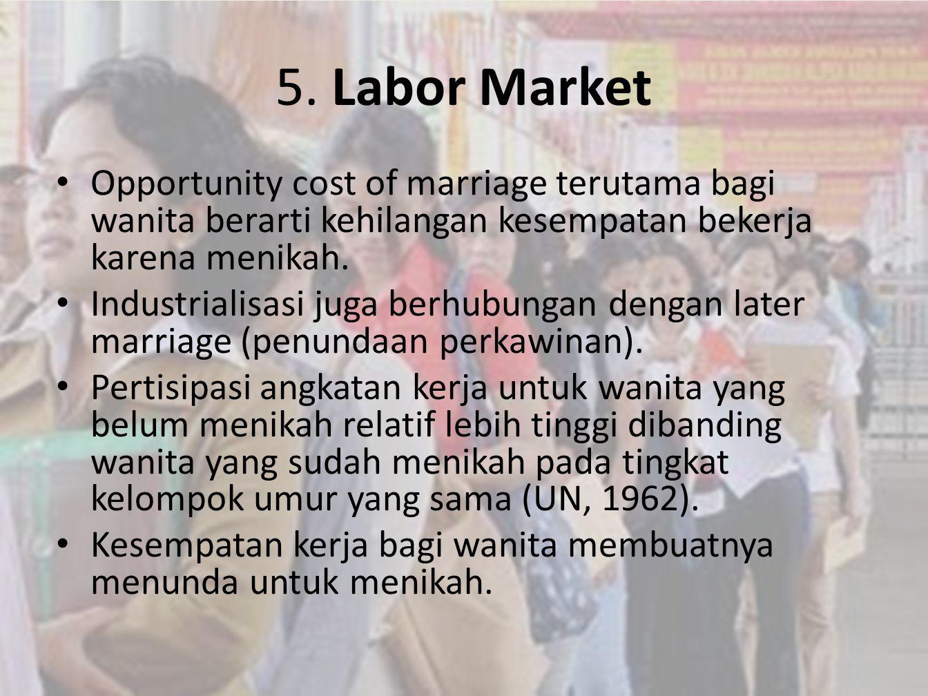 5. Labor Market Opportunity cost of marriage terutama bagi wanita berarti kehilangan kesempatan bekerja karena menikah.
