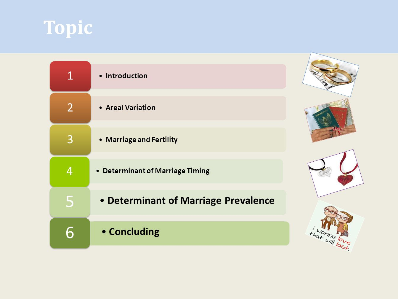 Topic 5 6 1 2 3 4 Determinant of Marriage Prevalence Concluding