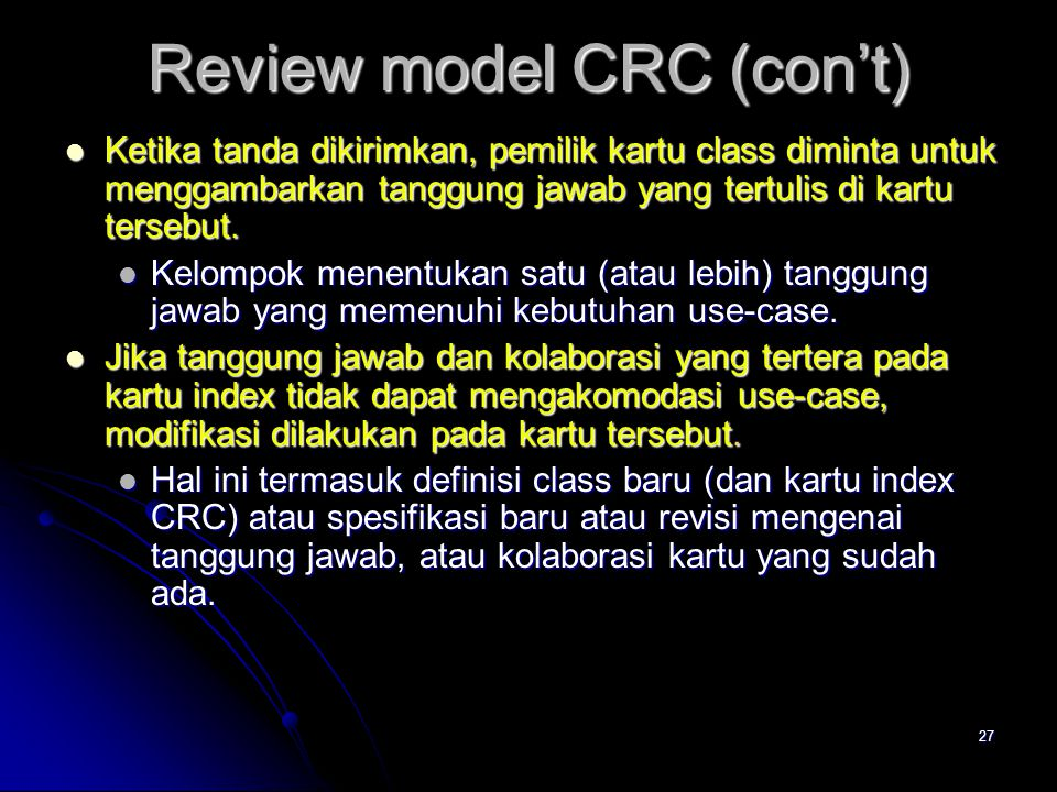 Review model CRC (con't)