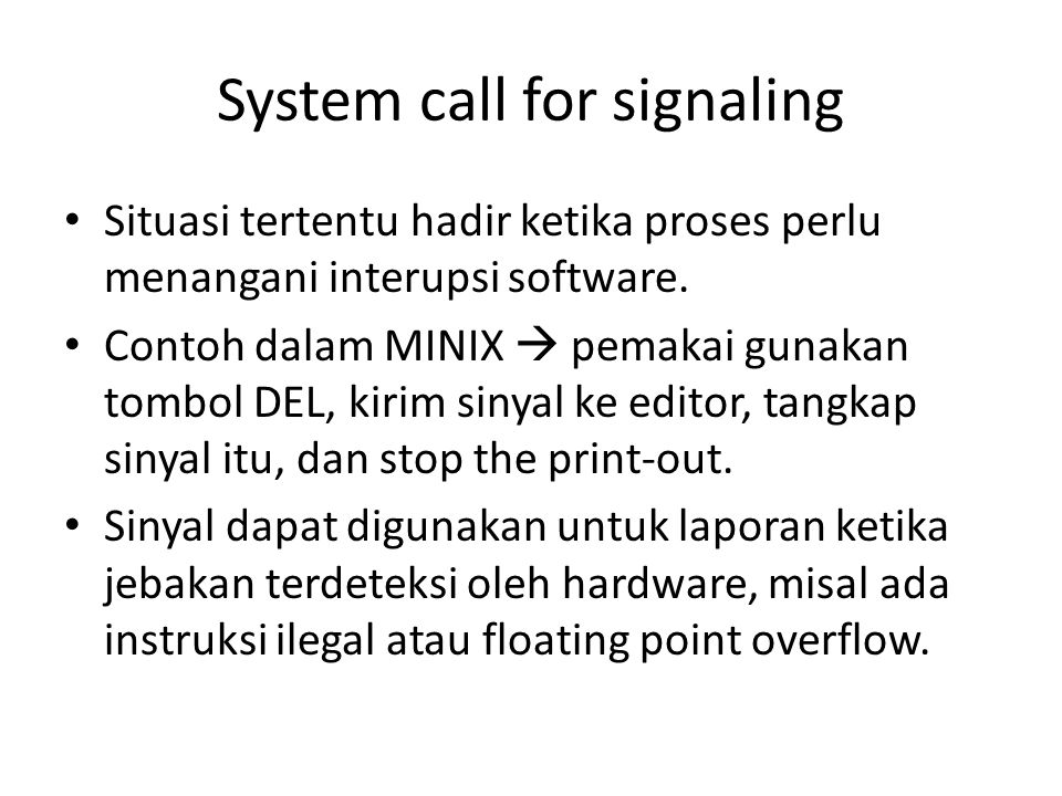System call for signaling