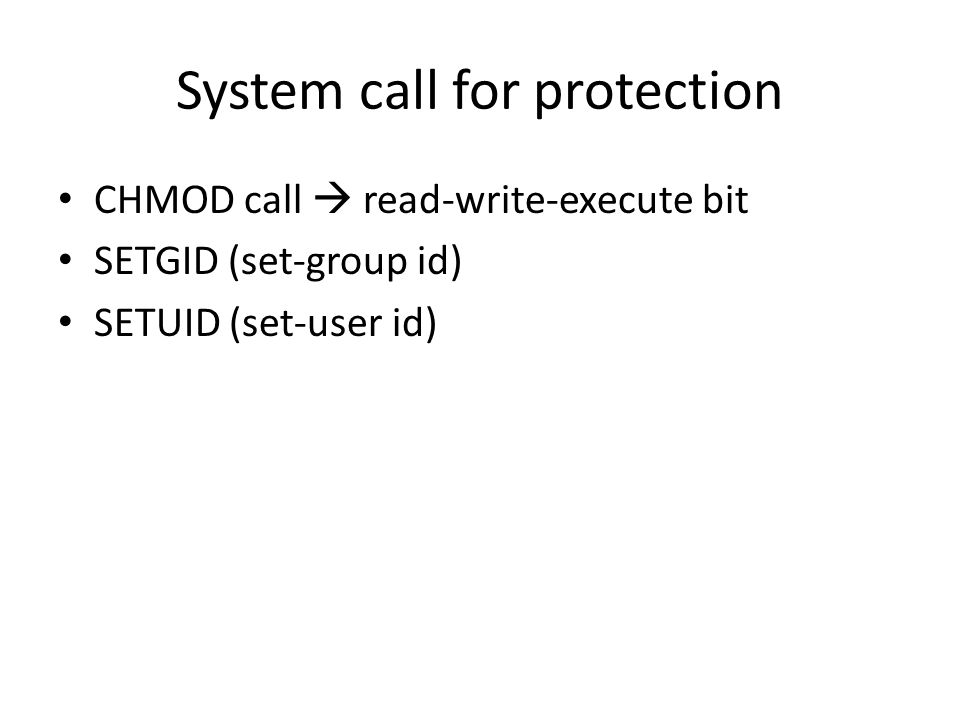 System call for protection
