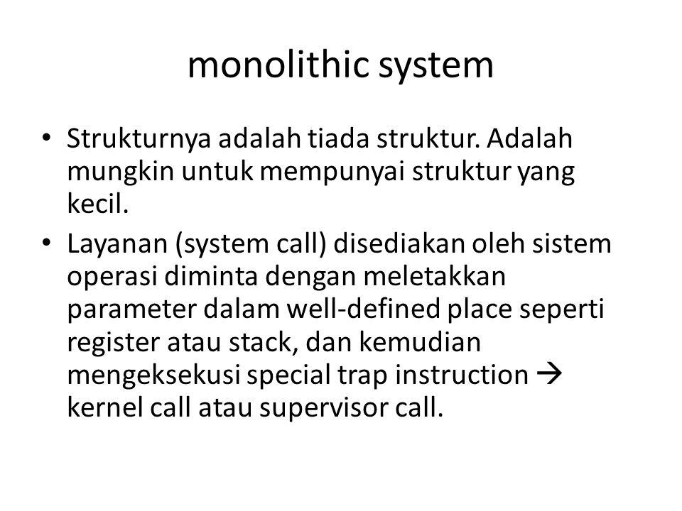 monolithic system Strukturnya adalah tiada struktur. Adalah mungkin untuk mempunyai struktur yang kecil.