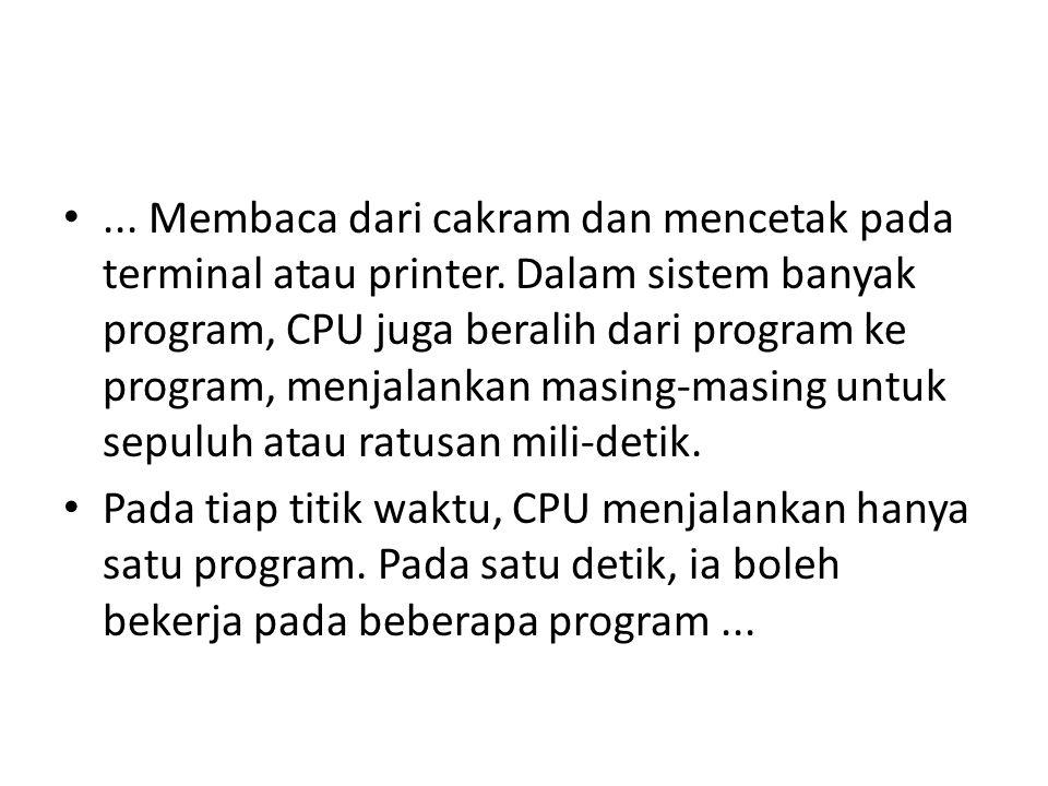 Membaca dari cakram dan mencetak pada terminal atau printer