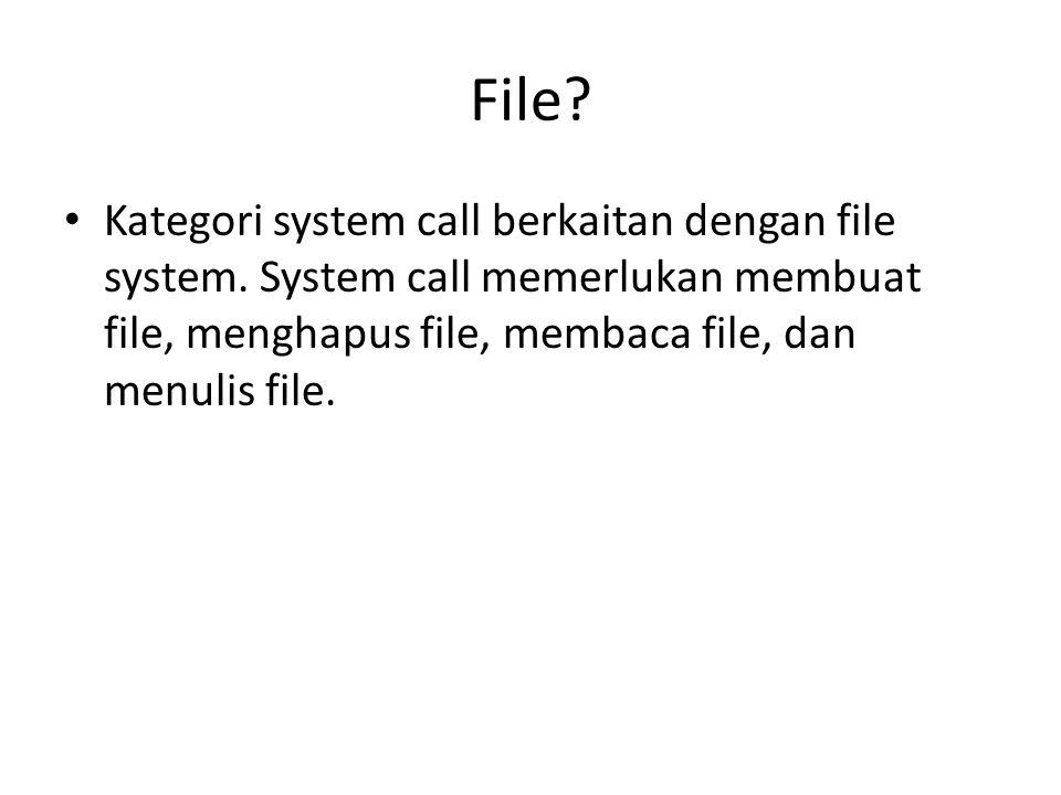 File. Kategori system call berkaitan dengan file system.