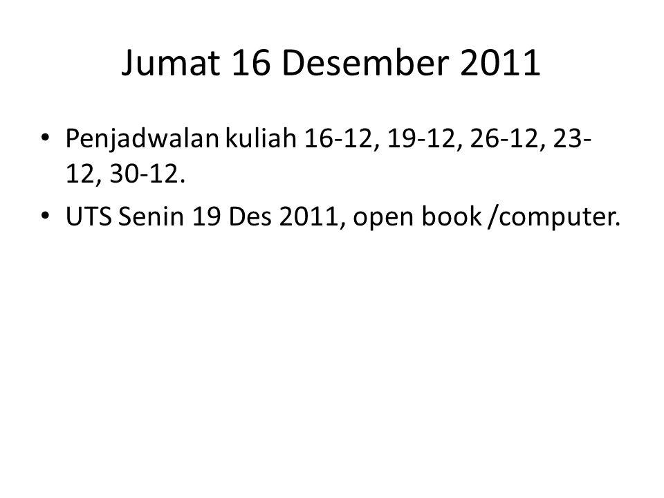 Jumat 16 Desember 2011 Penjadwalan kuliah 16-12, 19-12, 26-12, 23-12, 30-12.