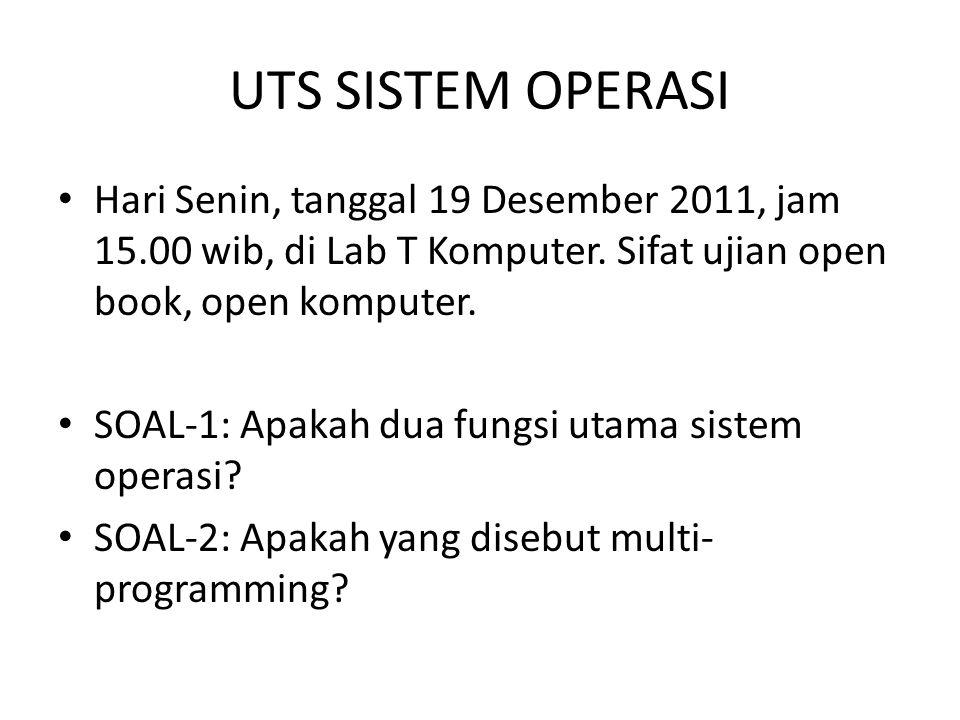 UTS SISTEM OPERASI Hari Senin, tanggal 19 Desember 2011, jam 15.00 wib, di Lab T Komputer. Sifat ujian open book, open komputer.