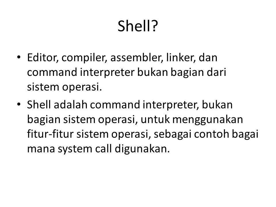 Shell Editor, compiler, assembler, linker, dan command interpreter bukan bagian dari sistem operasi.