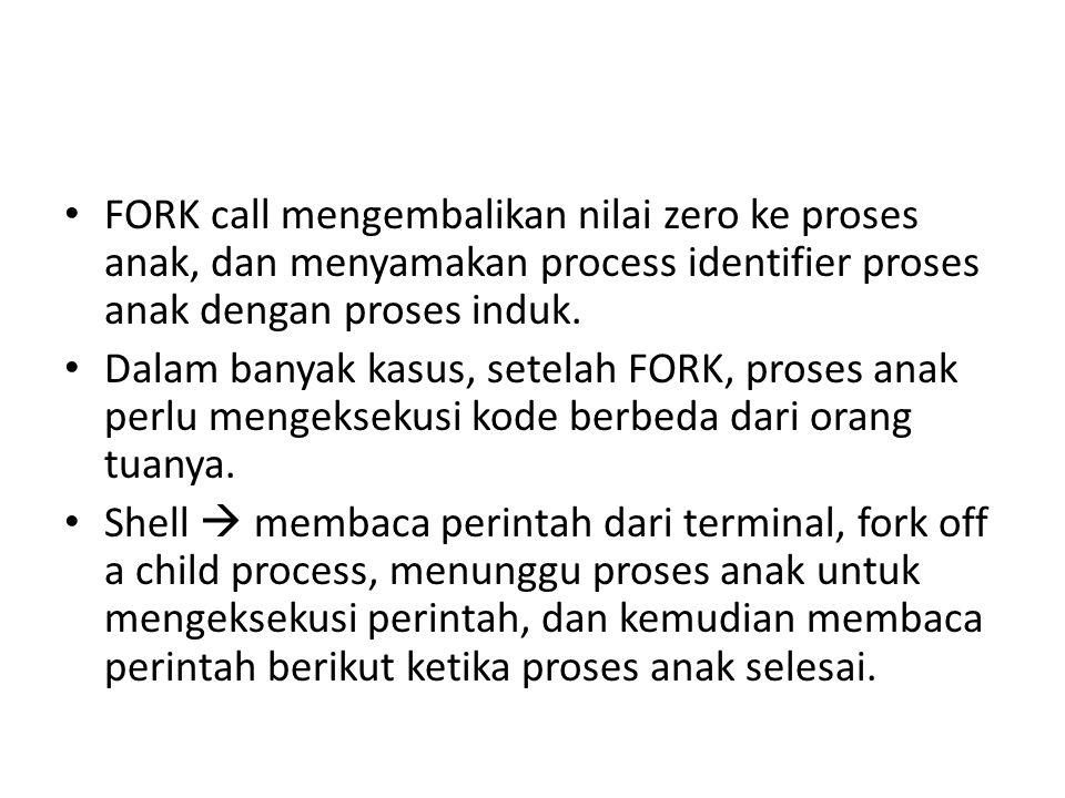 FORK call mengembalikan nilai zero ke proses anak, dan menyamakan process identifier proses anak dengan proses induk.