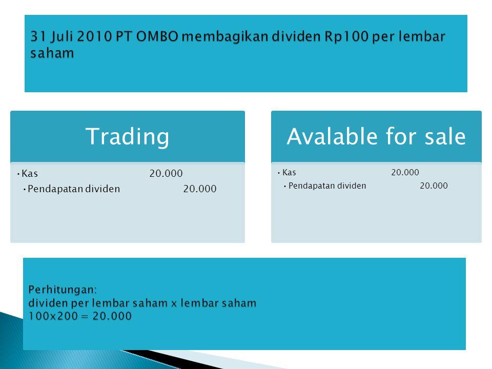 31 Juli 2010 PT OMBO membagikan dividen Rp100 per lembar saham