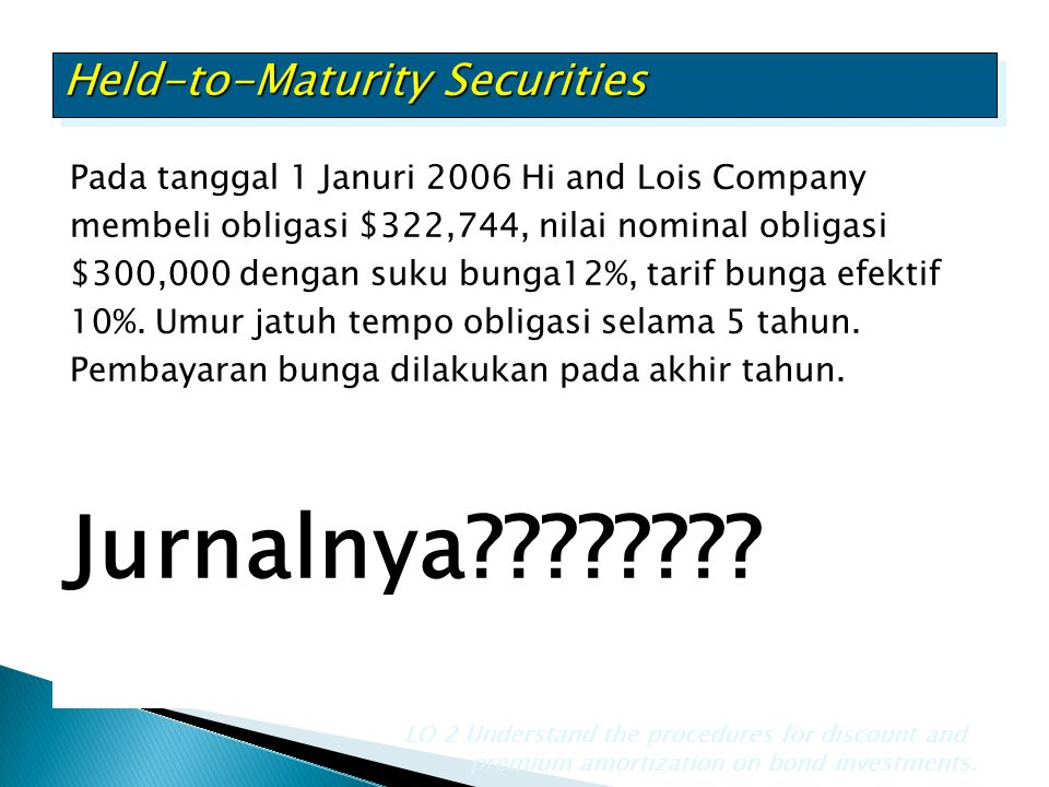 Jurnalnya Held-to-Maturity Securities