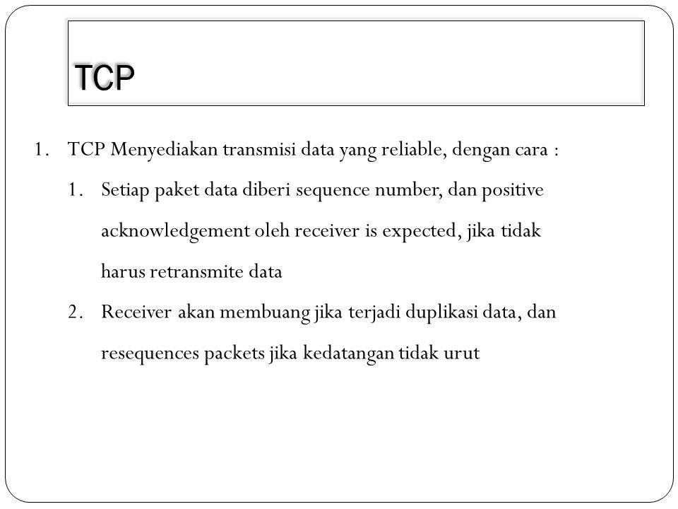 TCP TCP Menyediakan transmisi data yang reliable, dengan cara :