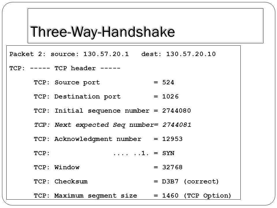 Three-Way-Handshake Packet 2: source: 130.57.20.1 dest: 130.57.20.10