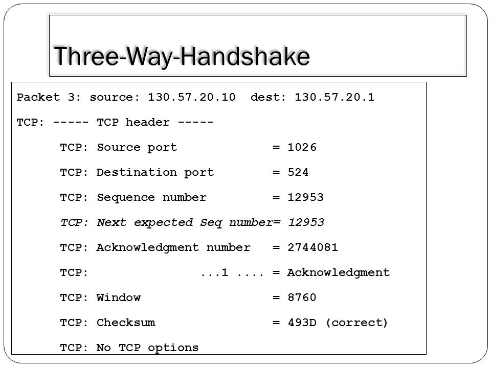 Three-Way-Handshake Packet 3: source: 130.57.20.10 dest: 130.57.20.1