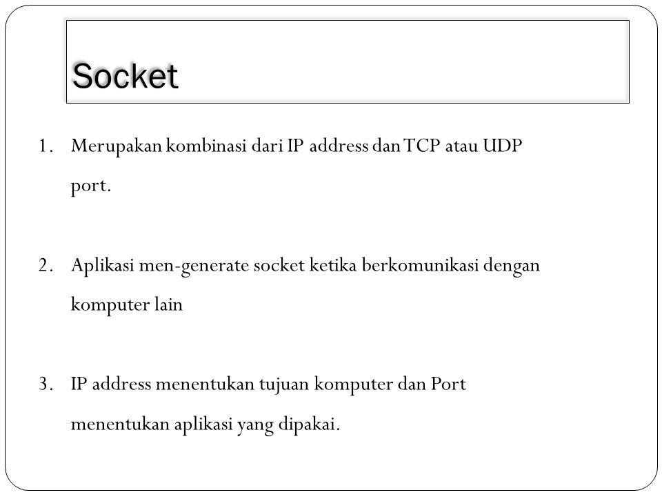 Socket Merupakan kombinasi dari IP address dan TCP atau UDP port.