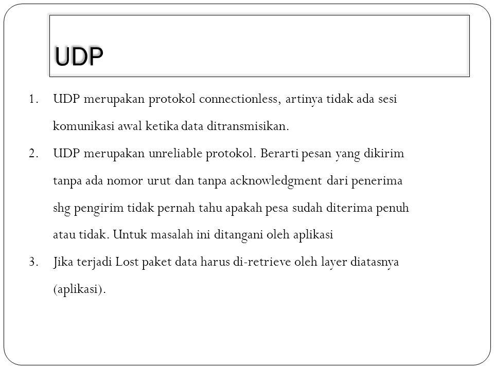 3/30/2011 UDP. UDP merupakan protokol connectionless, artinya tidak ada sesi komunikasi awal ketika data ditransmisikan.