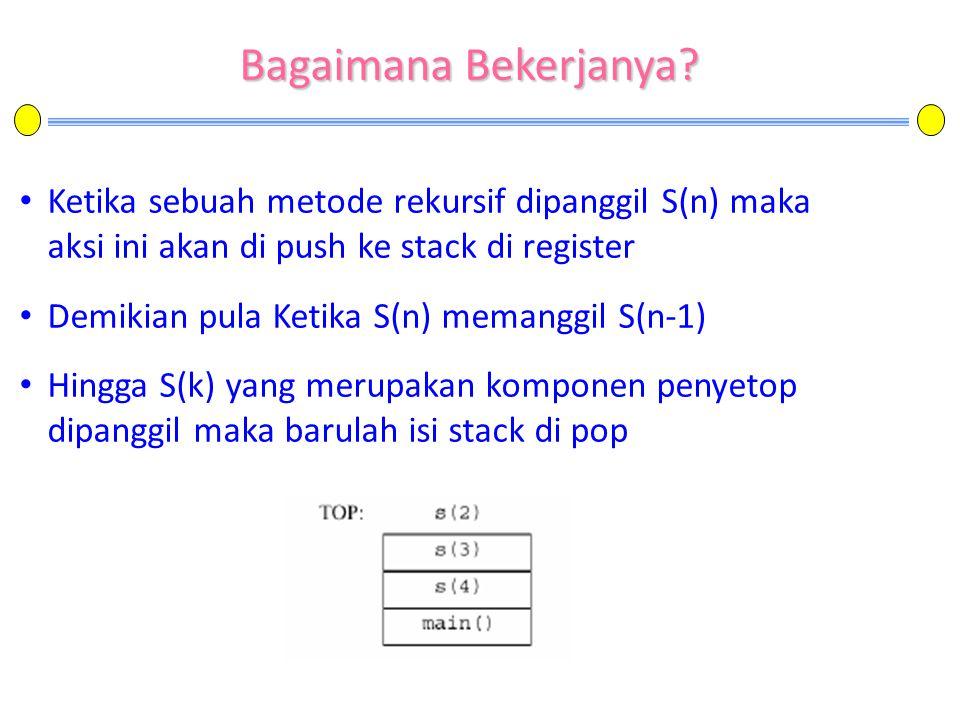 Bagaimana Bekerjanya Ketika sebuah metode rekursif dipanggil S(n) maka aksi ini akan di push ke stack di register.