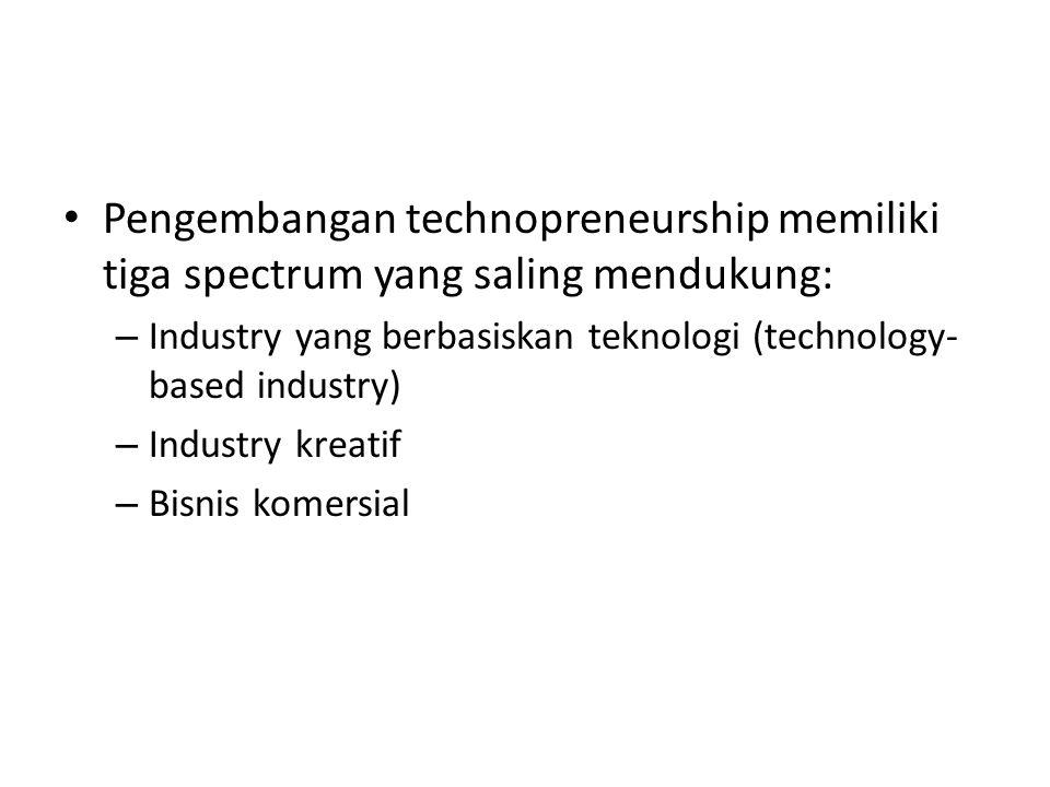Pengembangan technopreneurship memiliki tiga spectrum yang saling mendukung: