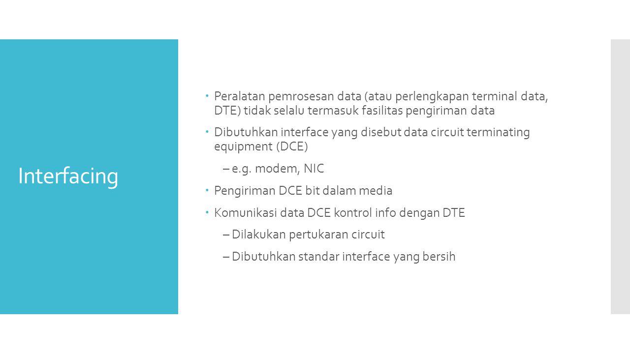 Peralatan pemrosesan data (atau perlengkapan terminal data, DTE) tidak selalu termasuk fasilitas pengiriman data