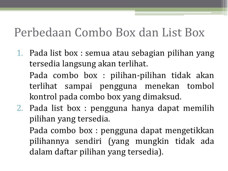 Perbedaan Combo Box dan List Box