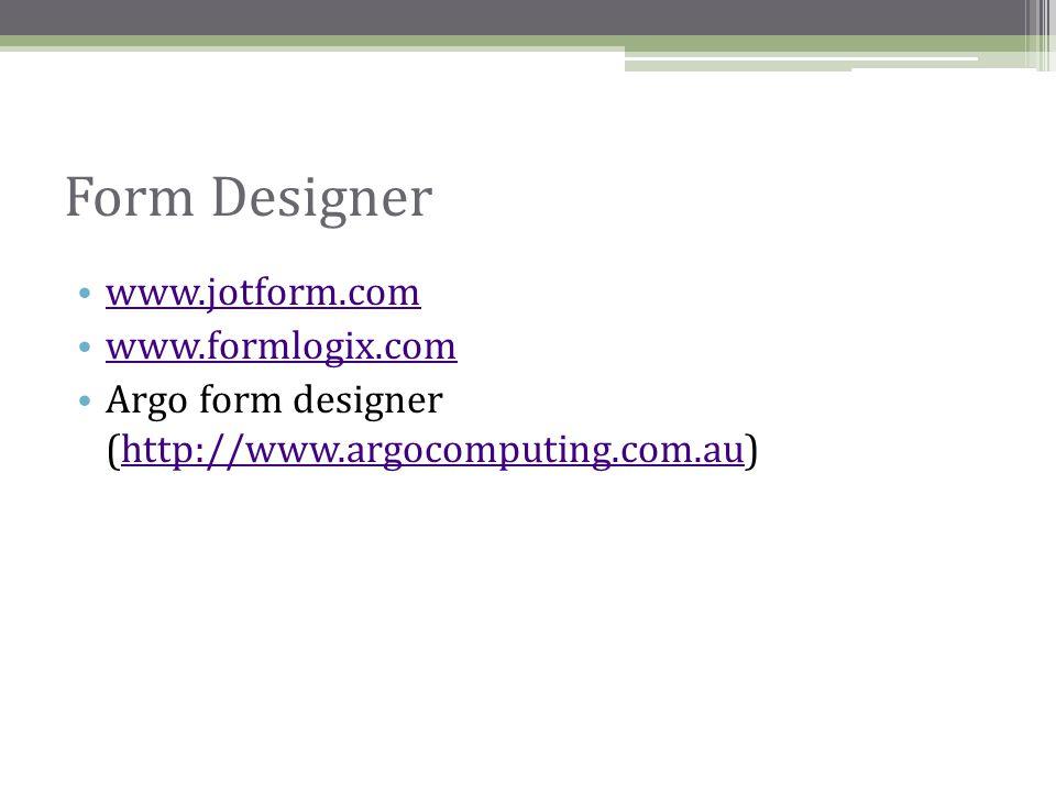 Form Designer www.jotform.com www.formlogix.com