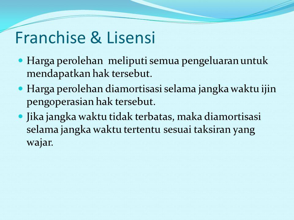 Franchise & Lisensi Harga perolehan meliputi semua pengeluaran untuk mendapatkan hak tersebut.