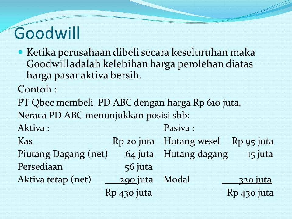 Goodwill Ketika perusahaan dibeli secara keseluruhan maka Goodwill adalah kelebihan harga perolehan diatas harga pasar aktiva bersih.