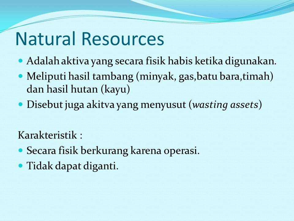 Natural Resources Adalah aktiva yang secara fisik habis ketika digunakan.