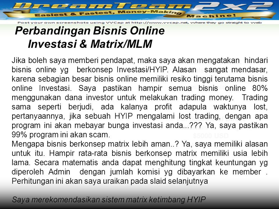 Perbandingan Bisnis Online Investasi & Matrix/MLM