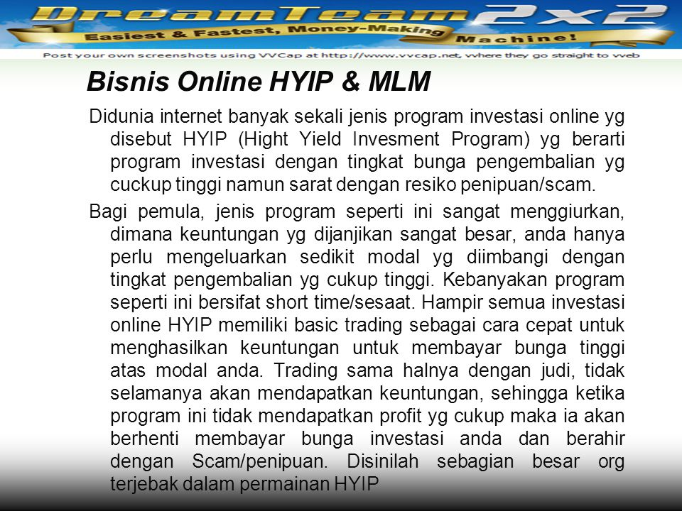 Bisnis Online HYIP & MLM