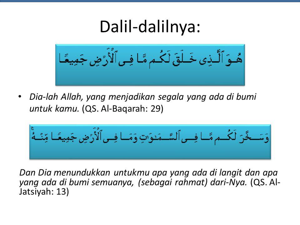 Dalil-dalilnya: Dia-lah Allah, yang menjadikan segala yang ada di bumi untuk kamu. (QS. Al-Baqarah: 29)