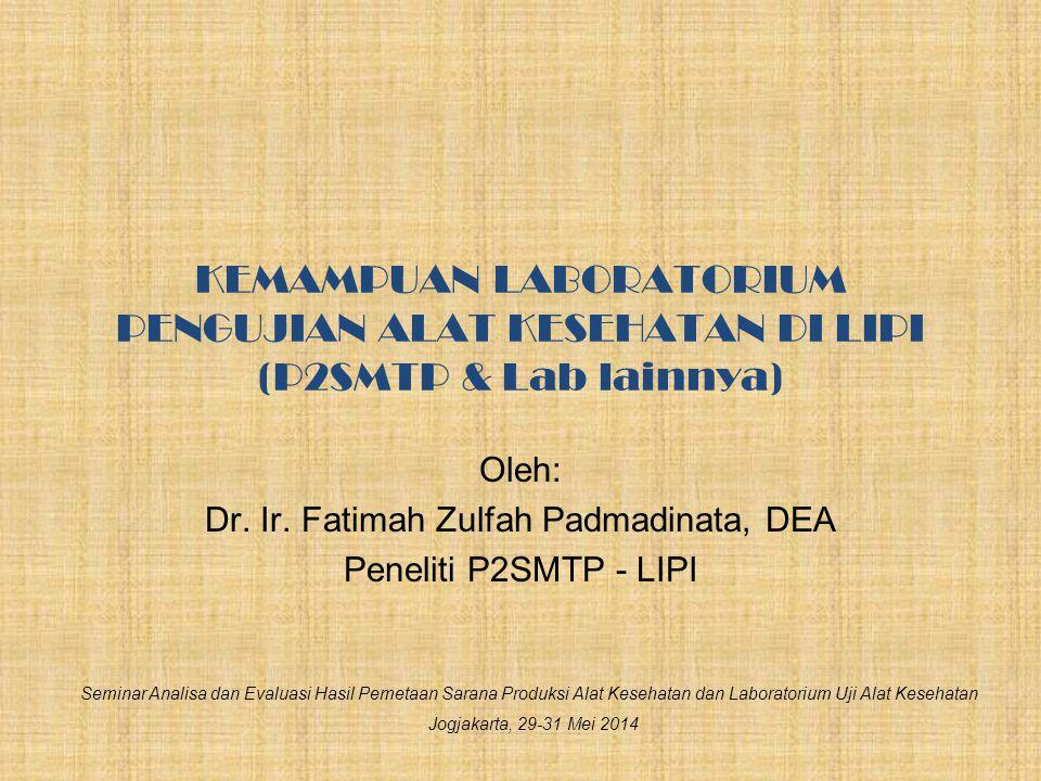 Oleh: Dr. Ir. Fatimah Zulfah Padmadinata, DEA Peneliti P2SMTP - LIPI