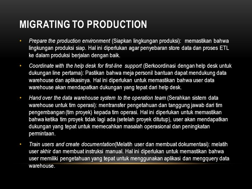 Migrating to Production