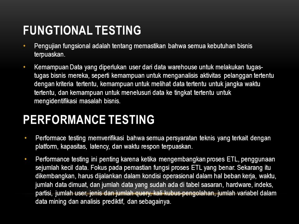 Fungtional Testing Performance Testing