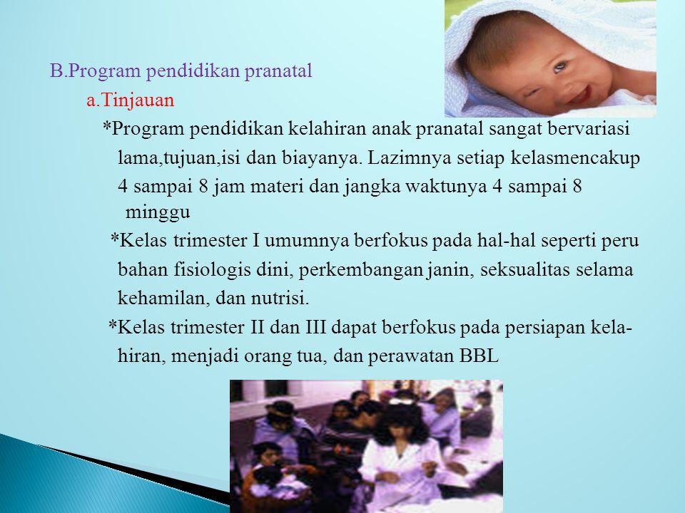 B. Program pendidikan pranatal a. Tinjauan