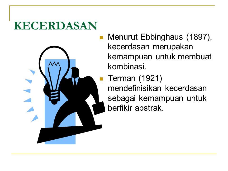 KECERDASAN Menurut Ebbinghaus (1897), kecerdasan merupakan kemampuan untuk membuat kombinasi.