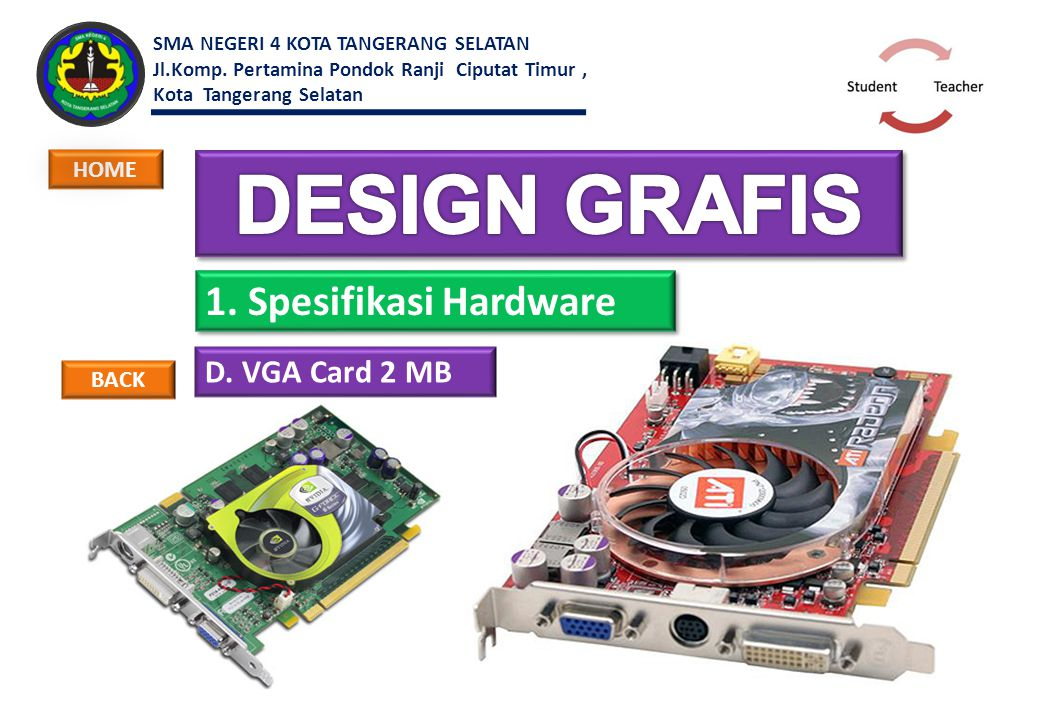 DESIGN GRAFIS 1. Spesifikasi Hardware D. VGA Card 2 MB HOME BACK