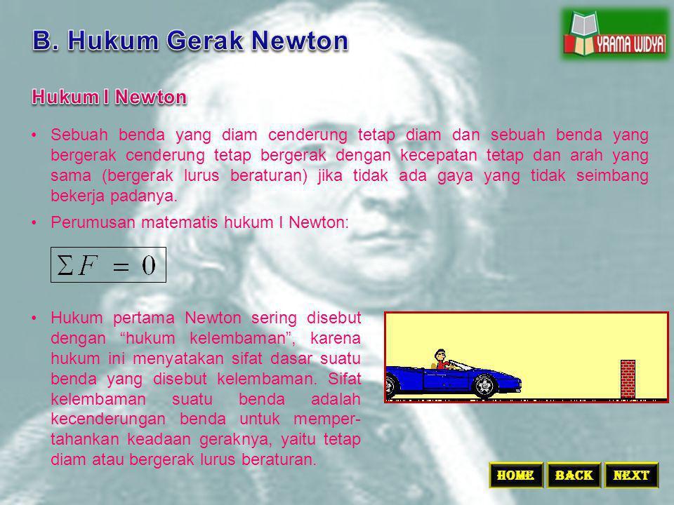 B. Hukum Gerak Newton Hukum I Newton
