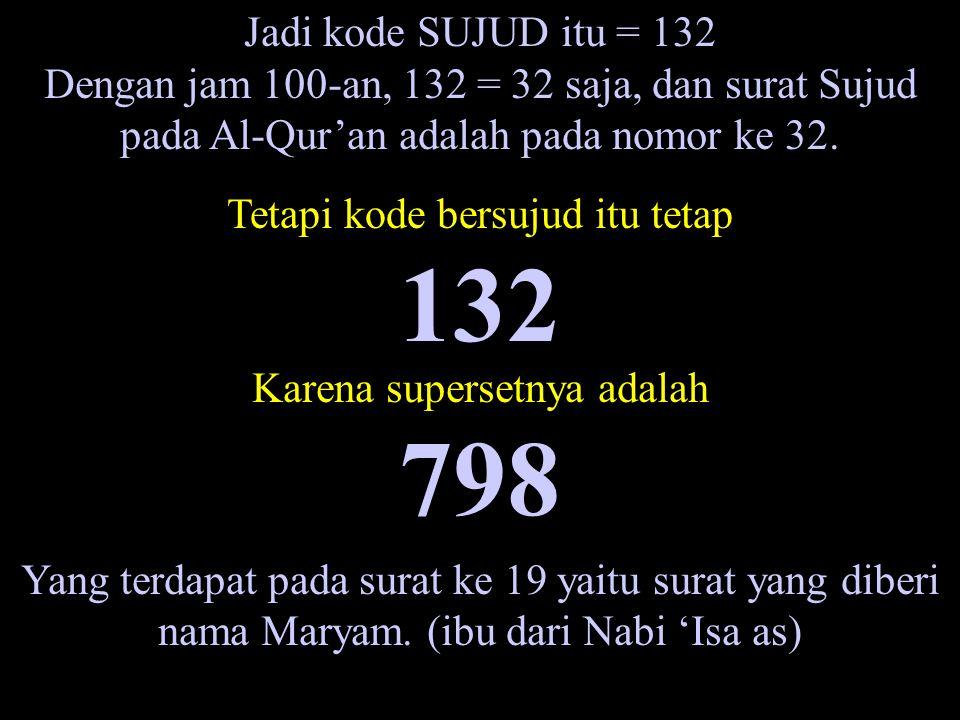 Jadi kode SUJUD itu = 132 Dengan jam 100-an, 132 = 32 saja, dan surat Sujud pada Al-Qur'an adalah pada nomor ke 32.