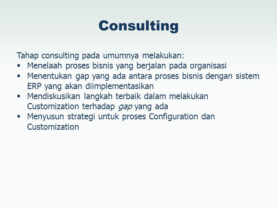 Consulting Tahap consulting pada umumnya melakukan: