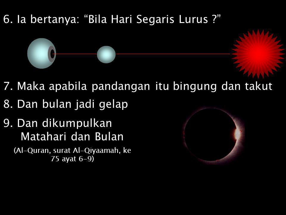 (Al-Quran, surat Al-Qiyaamah, ke 75 ayat 6-9)