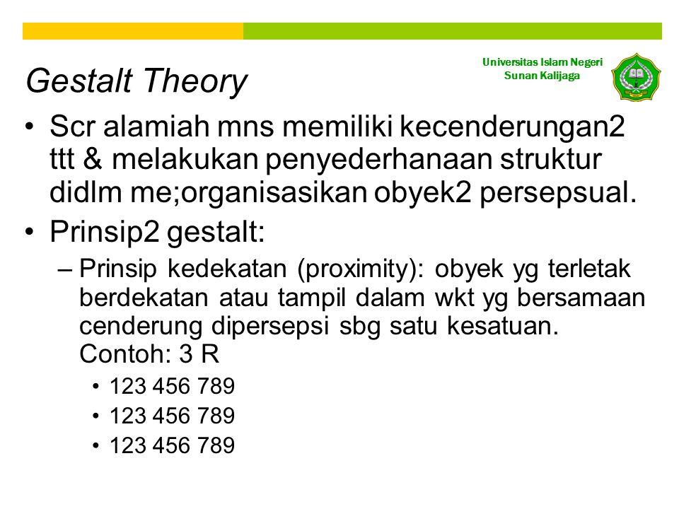 Gestalt Theory Scr alamiah mns memiliki kecenderungan2 ttt & melakukan penyederhanaan struktur didlm me;organisasikan obyek2 persepsual.