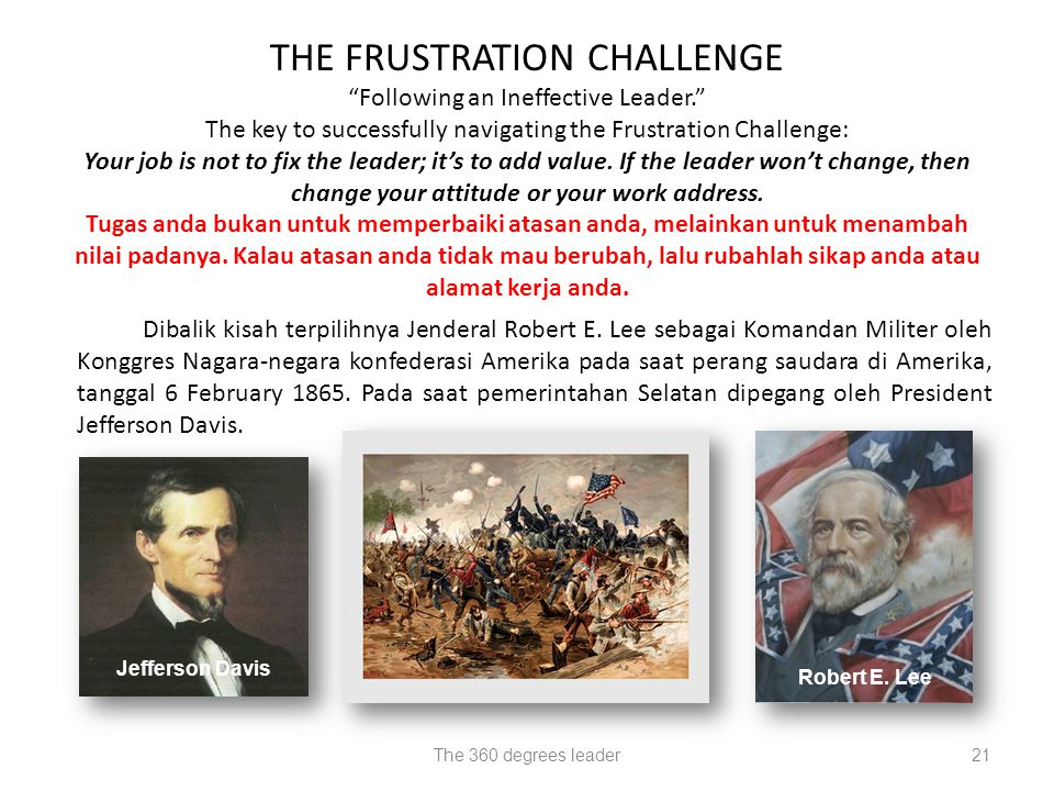THE FRUSTRATION CHALLENGE Following an Ineffective Leader.