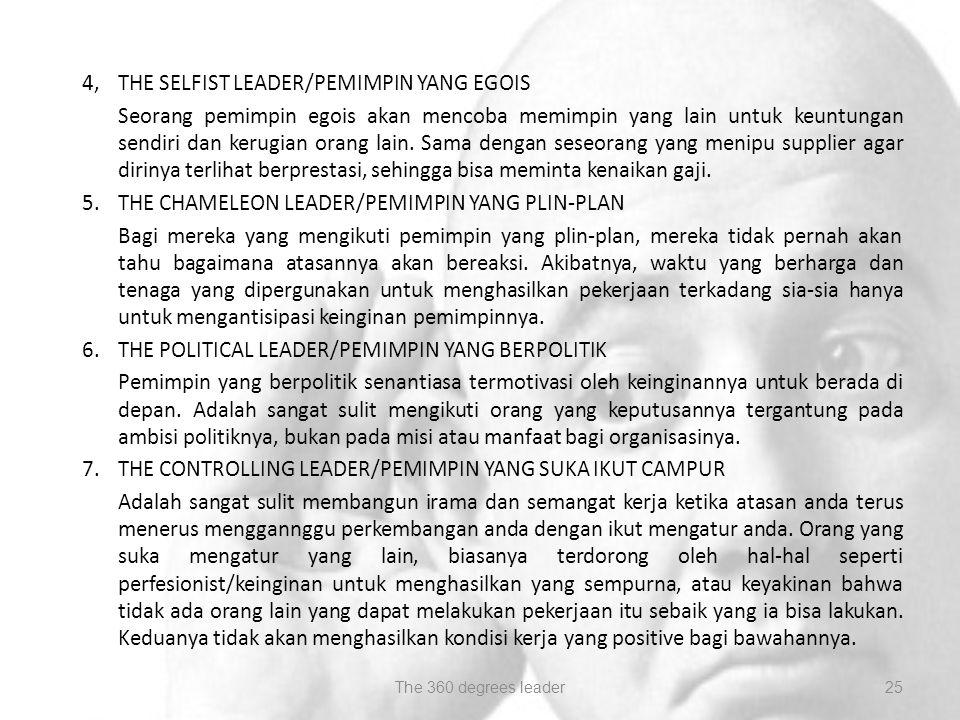 4, THE SELFIST LEADER/PEMIMPIN YANG EGOIS