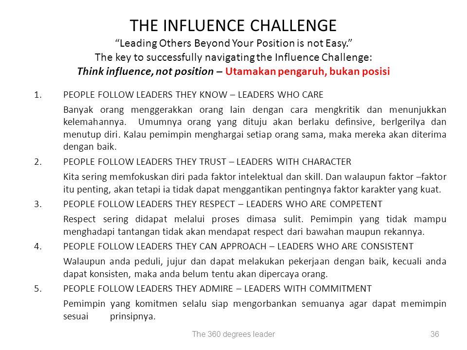 Think influence, not position – Utamakan pengaruh, bukan posisi
