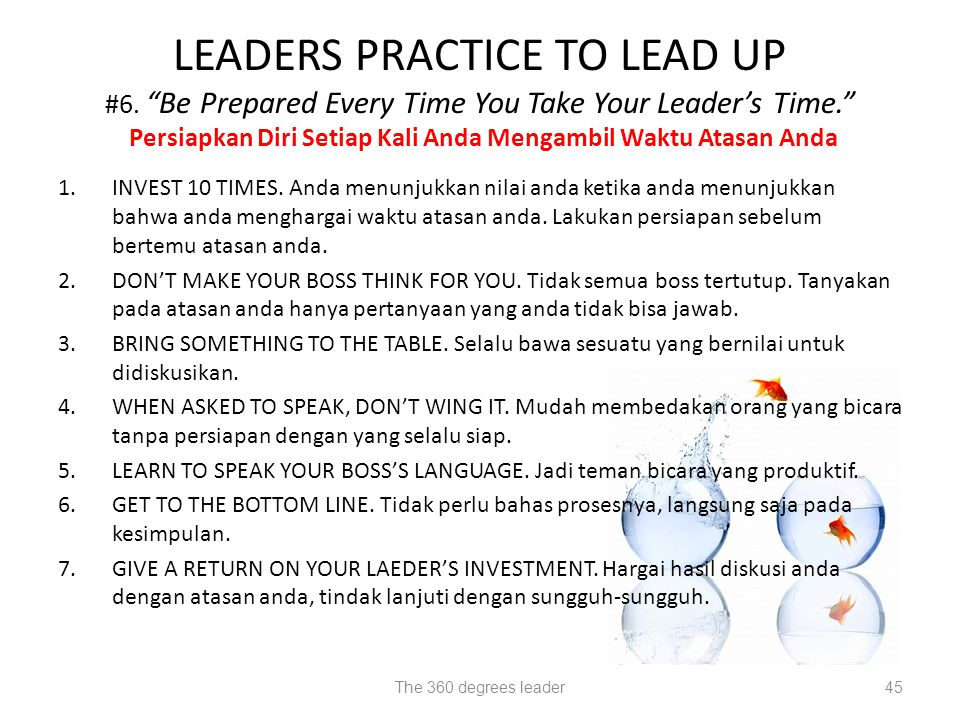 LEADERS PRACTICE TO LEAD UP #6