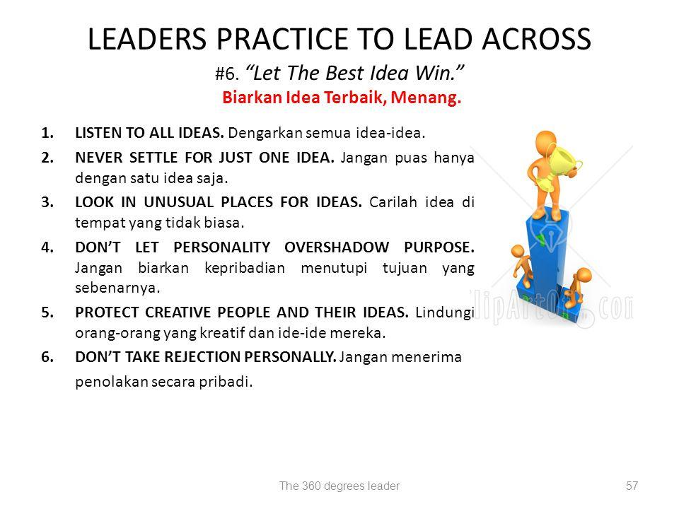 LEADERS PRACTICE TO LEAD ACROSS #6. Let The Best Idea Win