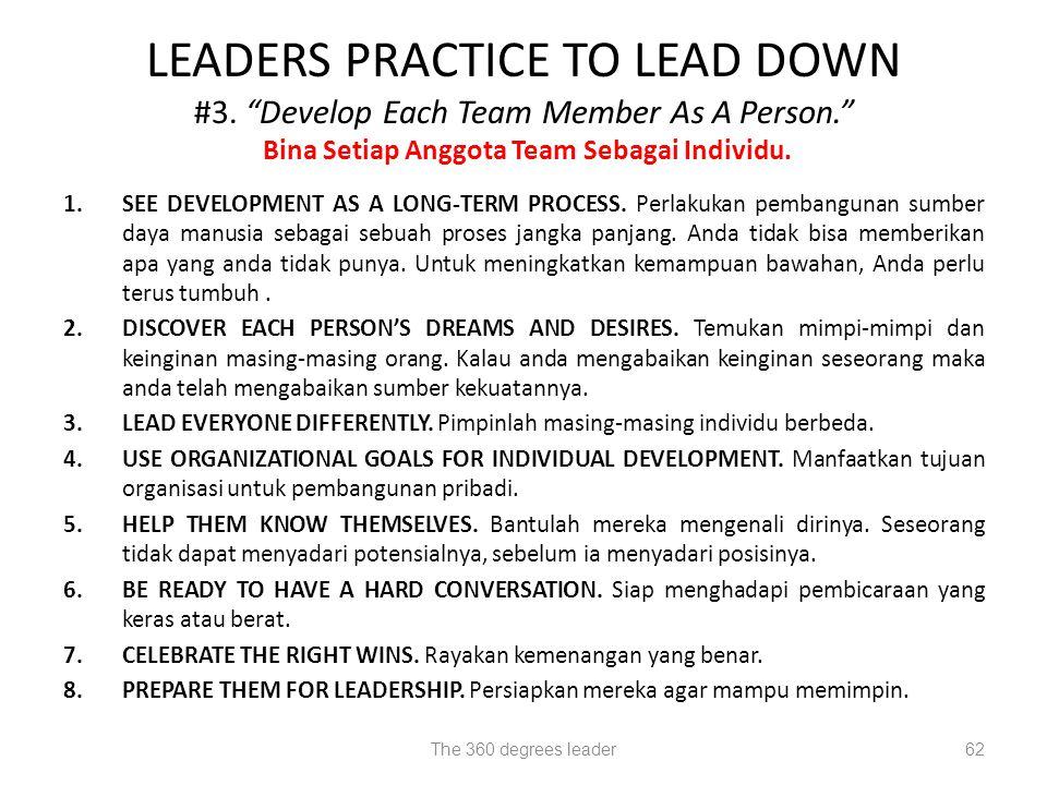 LEADERS PRACTICE TO LEAD DOWN #3. Develop Each Team Member As A Person. Bina Setiap Anggota Team Sebagai Individu.