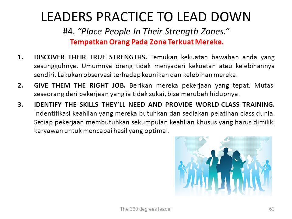 LEADERS PRACTICE TO LEAD DOWN #4. Place People In Their Strength Zones. Tempatkan Orang Pada Zona Terkuat Mereka.