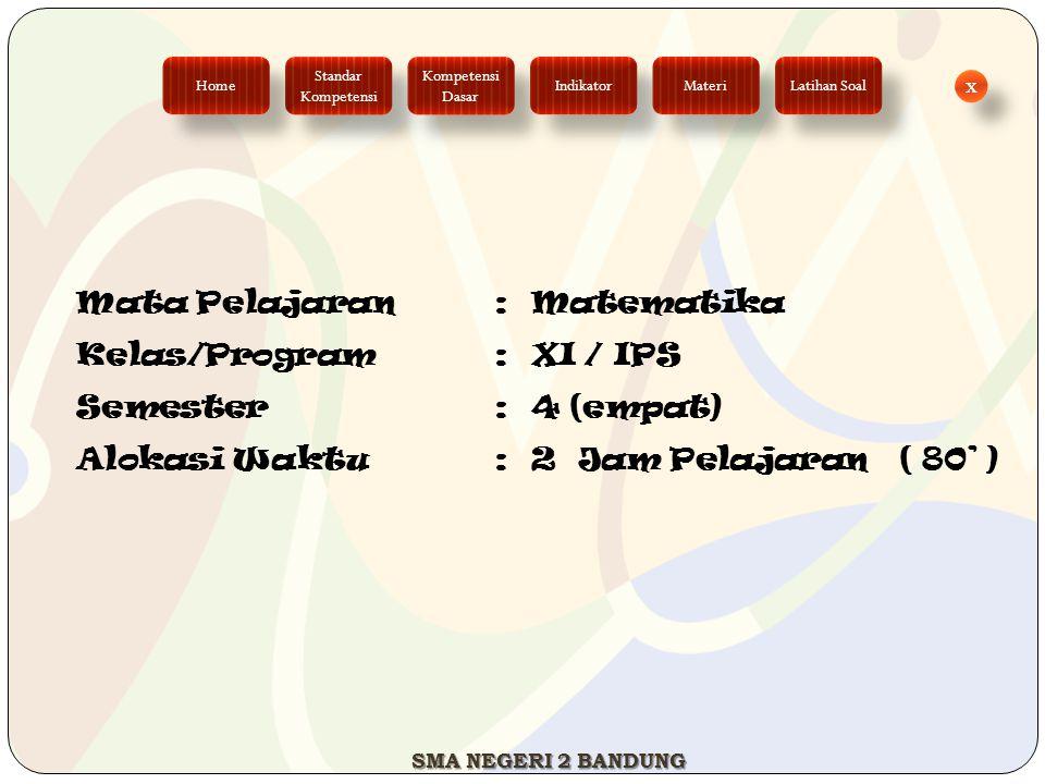Mata Pelajaran : Matematika Kelas/Program : XI / IPS